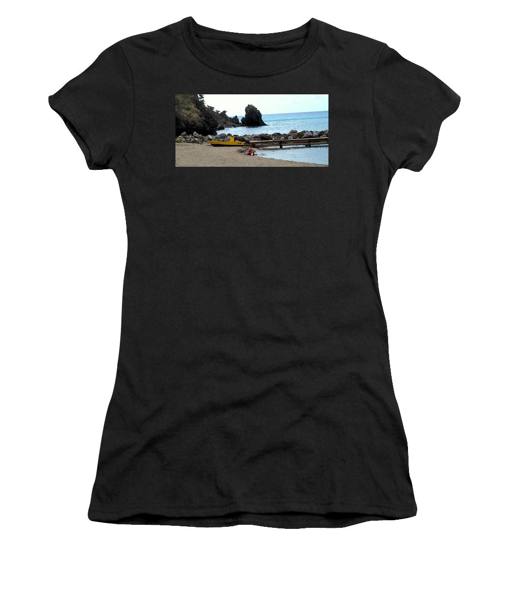 Beach Women's T-Shirt featuring the photograph Yellow Boat On The Beach by Ian MacDonald