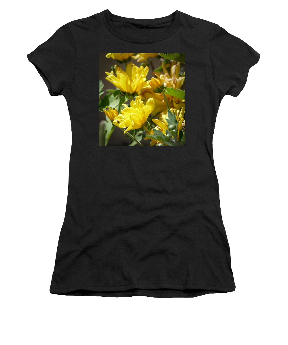 Flora Women's T-Shirt (Athletic Fit) featuring the photograph Yellow Chrysanthemum by Laurel Powell
