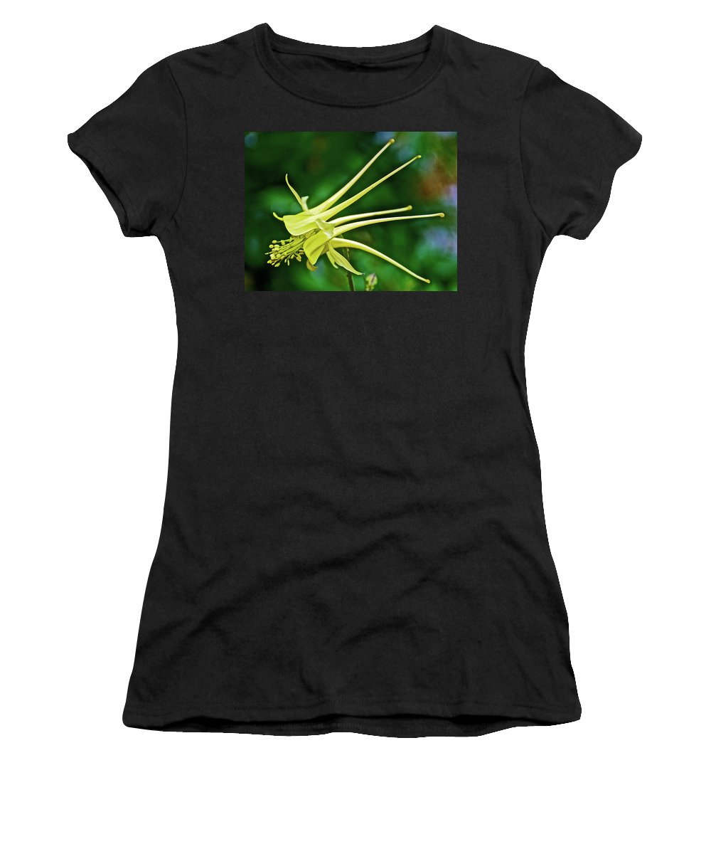 Yellow Columbine In Huntington Gardens In San Marino Women's T-Shirt (Athletic Fit) featuring the photograph Yellow Columbine In Huntington Gardens In San Marino-california by Ruth Hager