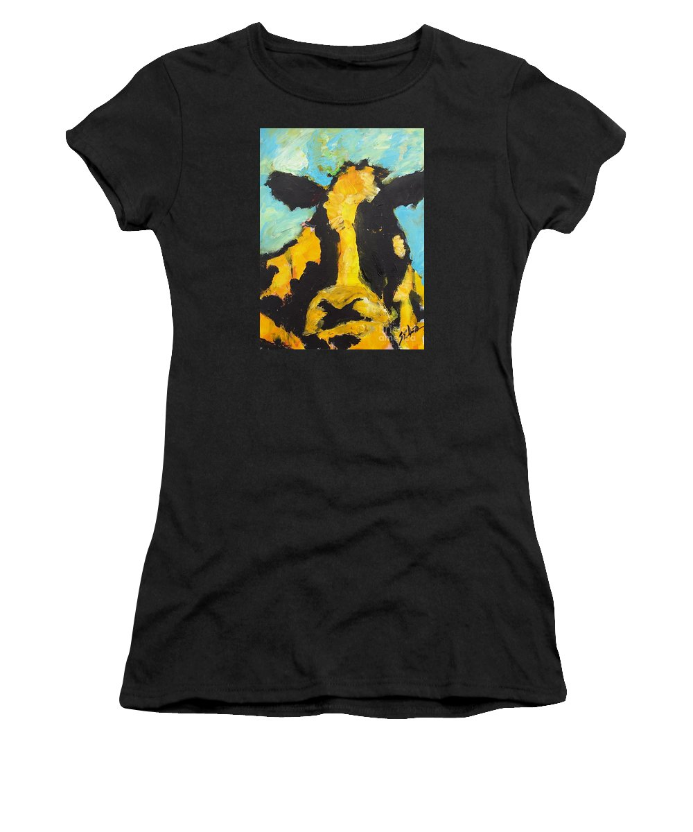 Cows Women's T-Shirt (Athletic Fit) featuring the painting Yellow Cow by Lidija Ivanek - SiLa