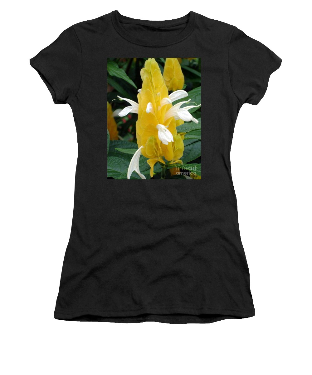 Flower Women's T-Shirt (Athletic Fit) featuring the photograph Yellow Eruption by Shelley Jones
