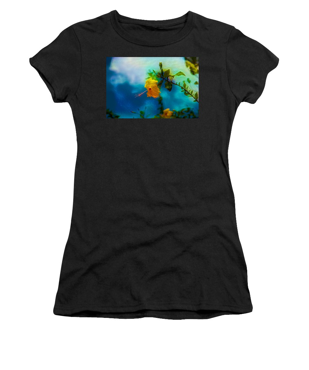 Flowers Women's T-Shirt (Athletic Fit) featuring the digital art Yellow Flower On Blue Sky by Evgeny Parushin