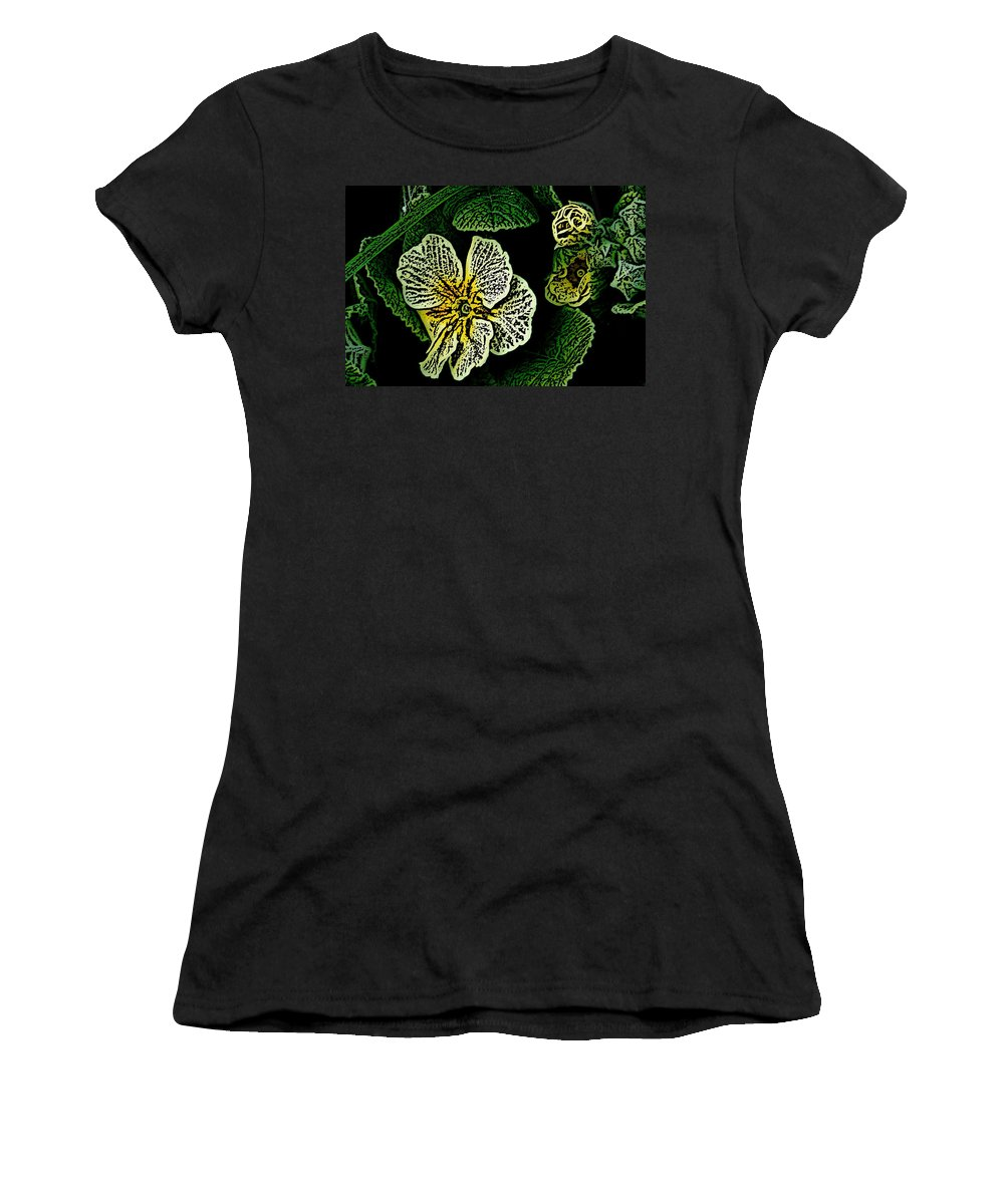 Floral Women's T-Shirt (Athletic Fit) featuring the digital art Yellow Flower Woodcut by David Lane