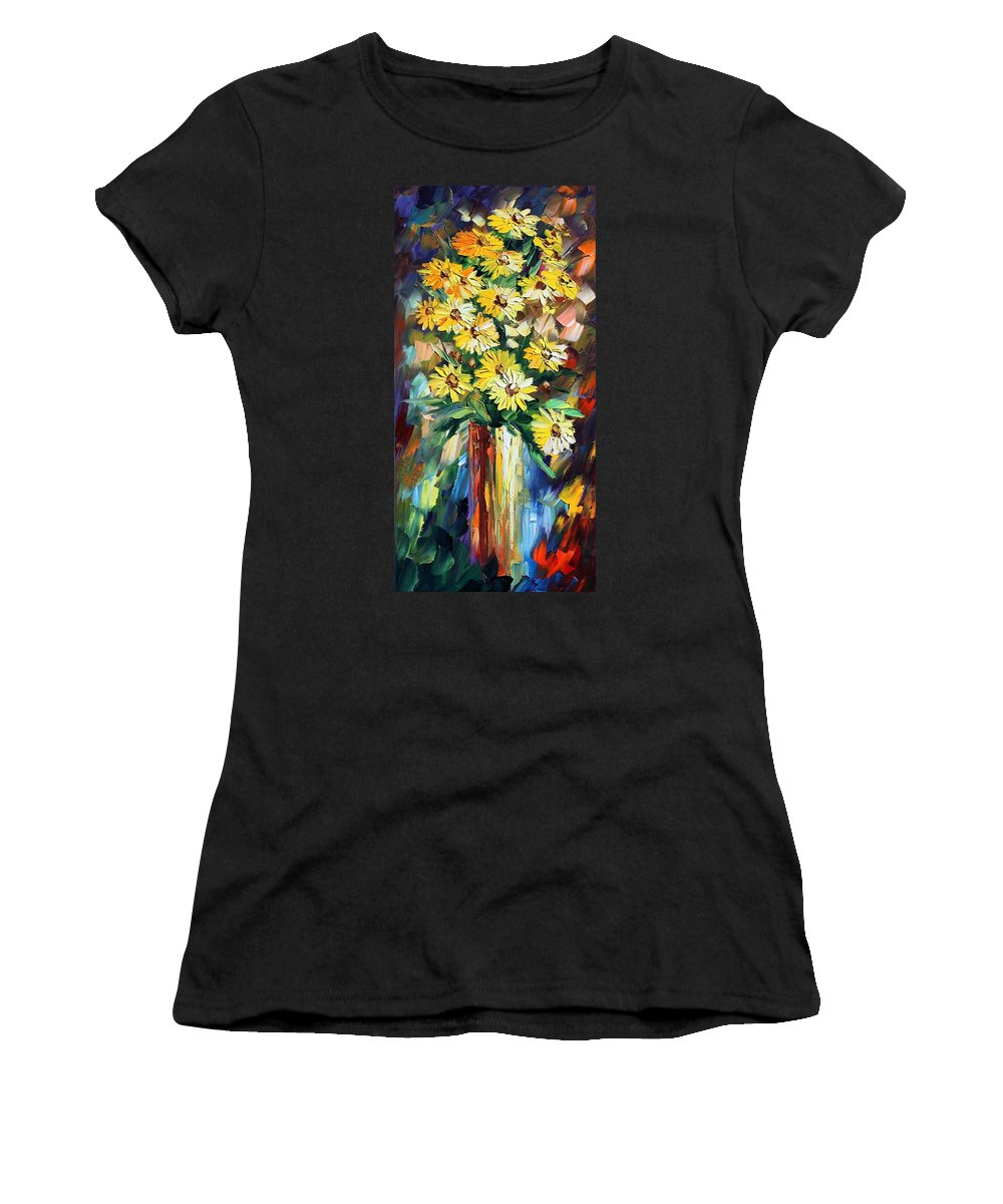 Afremov Women's T-Shirt (Athletic Fit) featuring the painting Yellow Flowers by Leonid Afremov