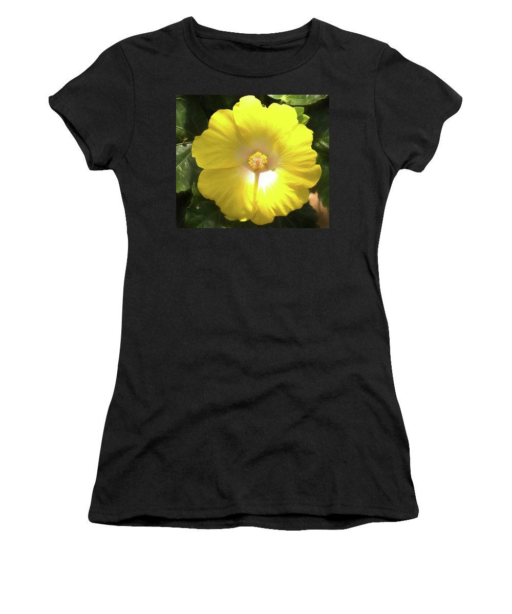 Yellow Hibiscus Women's T-Shirt (Athletic Fit) featuring the photograph Yellow Hibiscus by Curt Rush