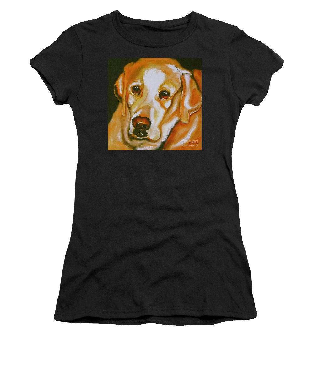 Oil Women's T-Shirt (Athletic Fit) featuring the painting Yellow Lab Amazing Grace by Susan A Becker