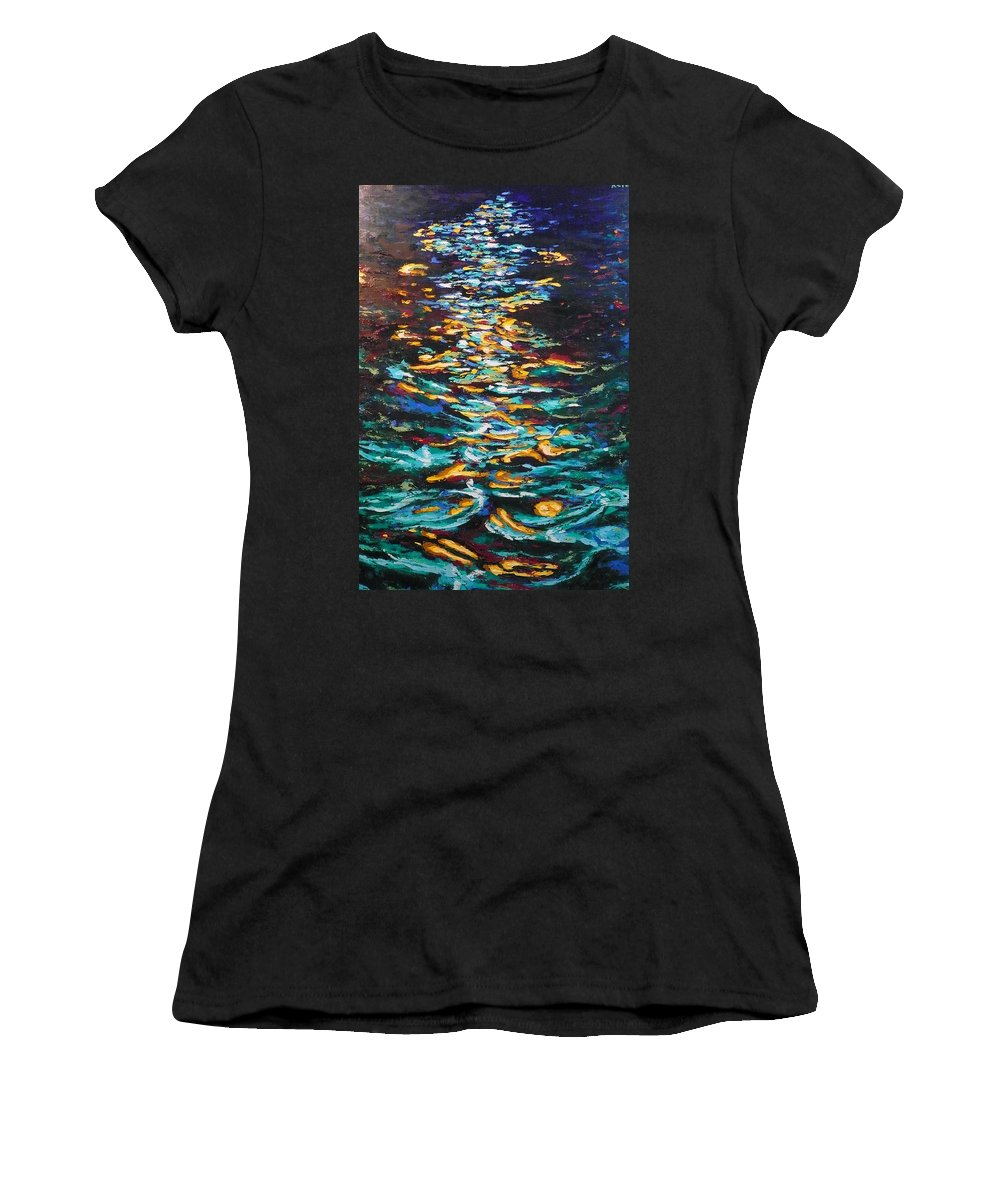 Landscape Women's T-Shirt (Athletic Fit) featuring the painting Yellow Light On Dark Water by Ericka Herazo