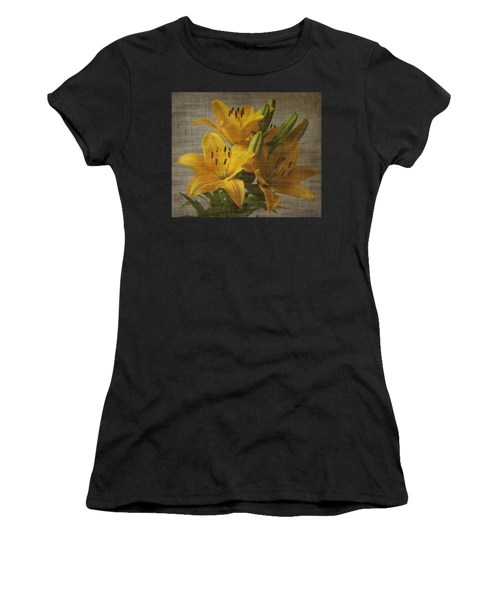 Flower Women's T-Shirt featuring the photograph Yellow Lilies With Old Canvas Texture Background by Vesela Yokova