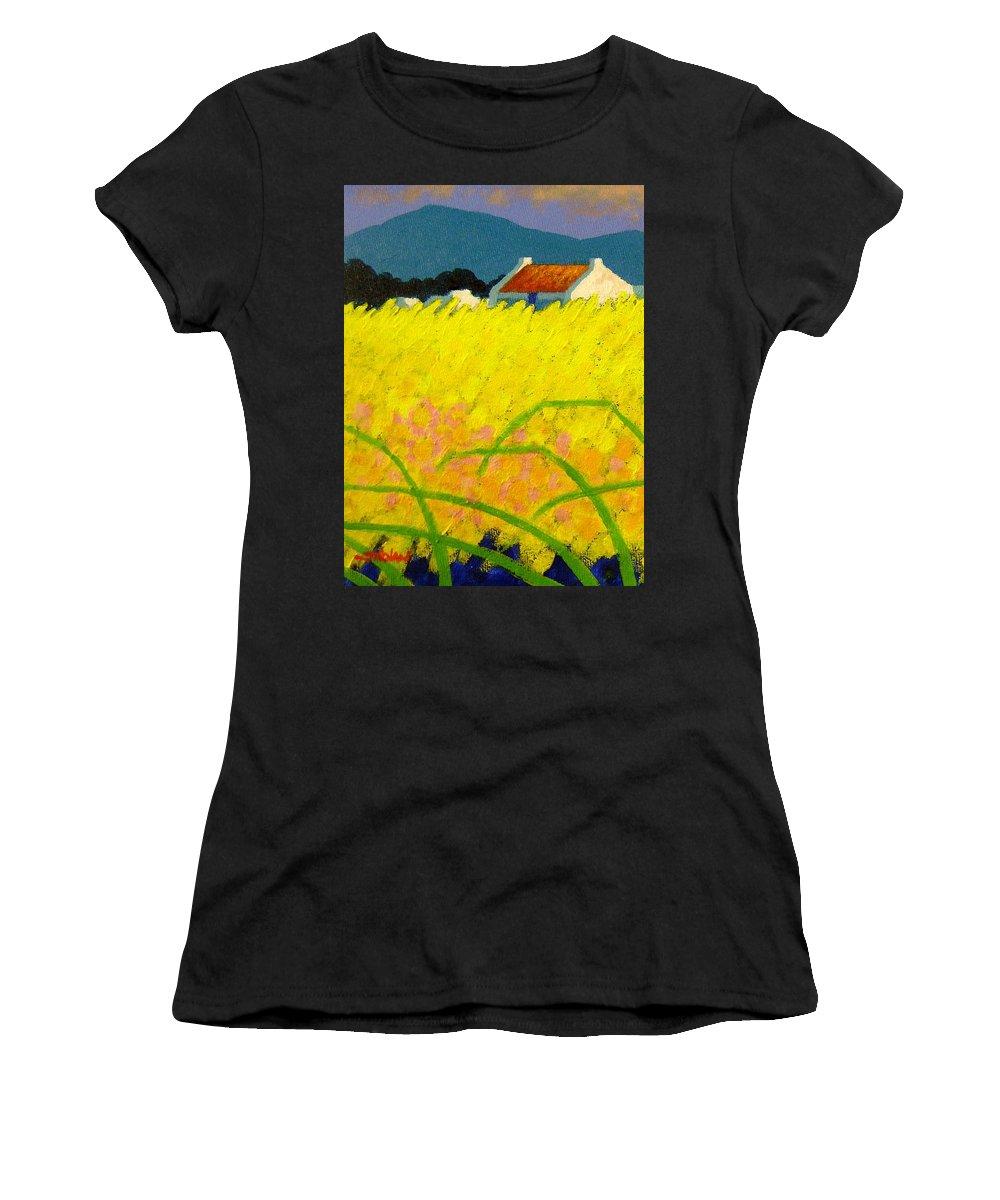 Irish Landscape Women's T-Shirt featuring the painting yellow Meadow Ireland by John Nolan