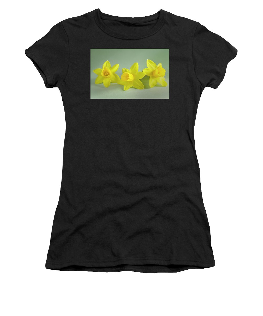 Yellow Mini Narcissus Women's T-Shirt featuring the photograph Yellow Mini Narcissus by Iris Richardson