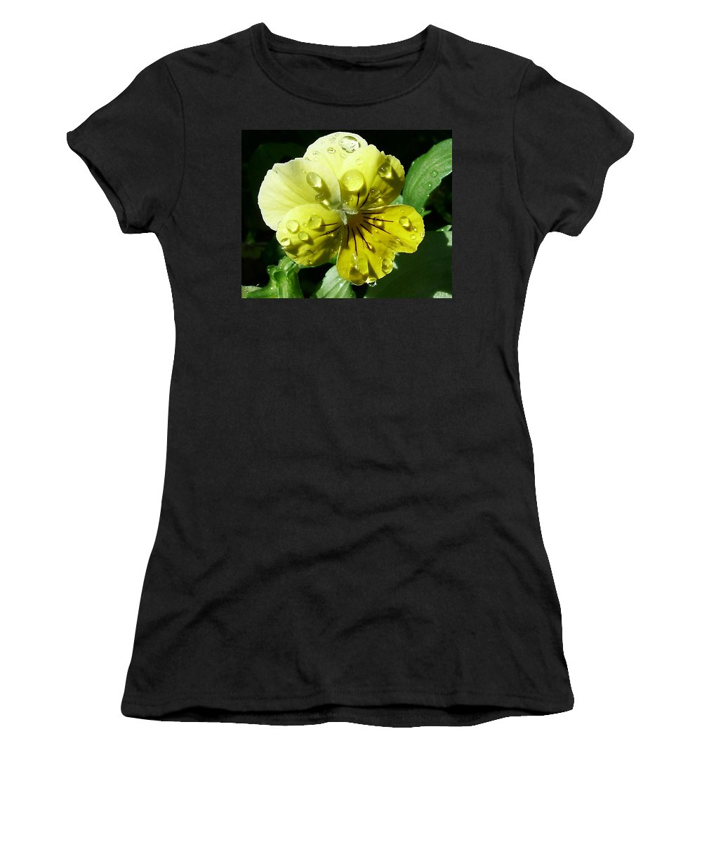 Flower Women's T-Shirt (Athletic Fit) featuring the photograph Yellow Pansy by Anthony Jones
