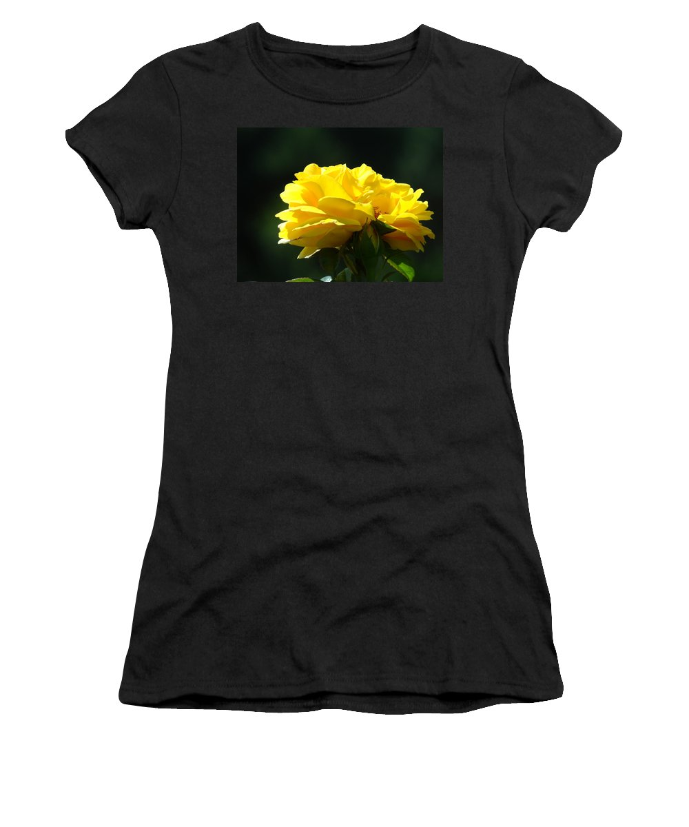 Rose Women's T-Shirt (Athletic Fit) featuring the photograph Yellow Rose Sunlit Rose Garden Landscape Art Baslee Troutman by Baslee Troutman