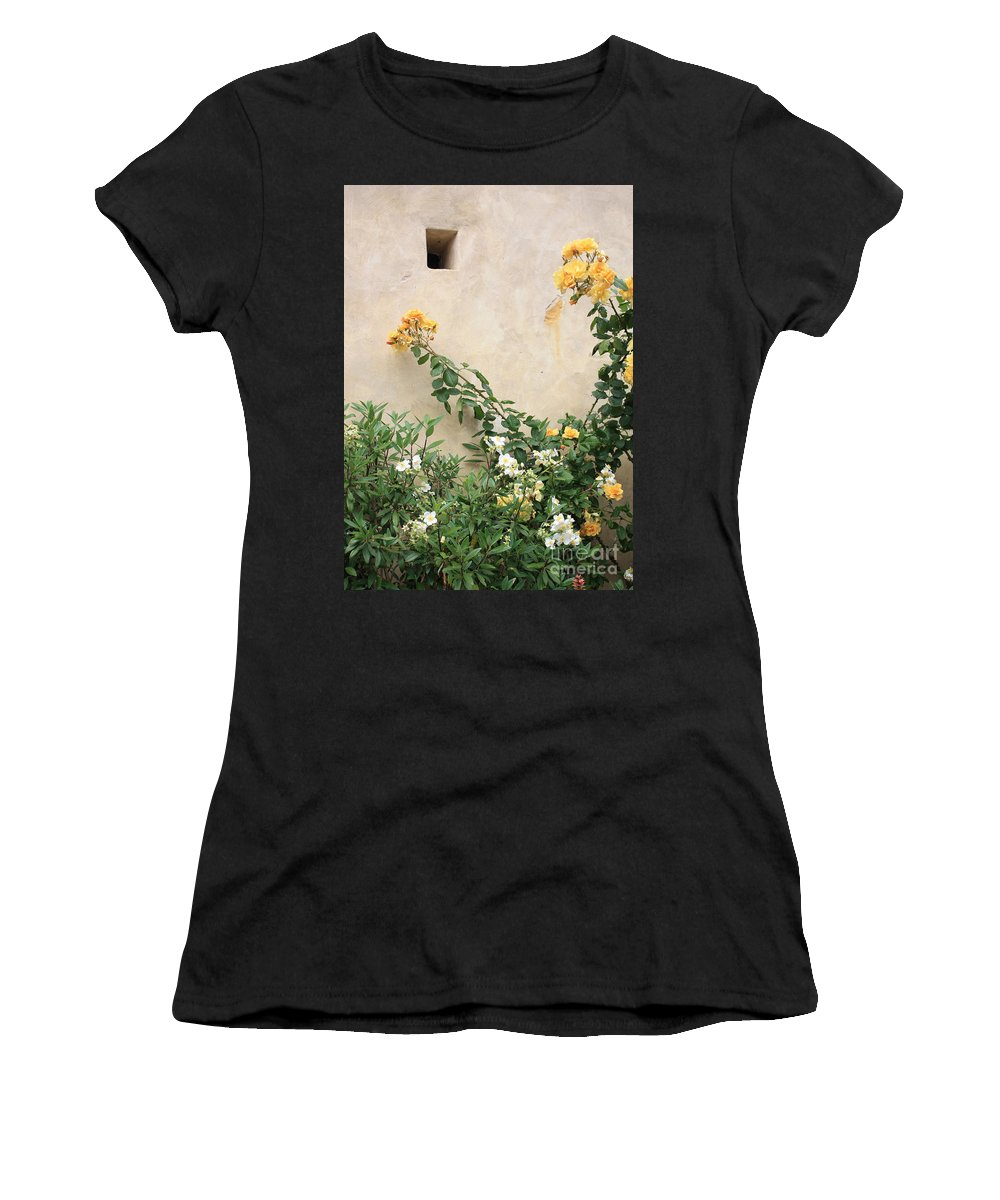 Yellow Roses Women's T-Shirt (Athletic Fit) featuring the photograph Yellow Roses And Tiny Window At Carmel Mission by Carol Groenen