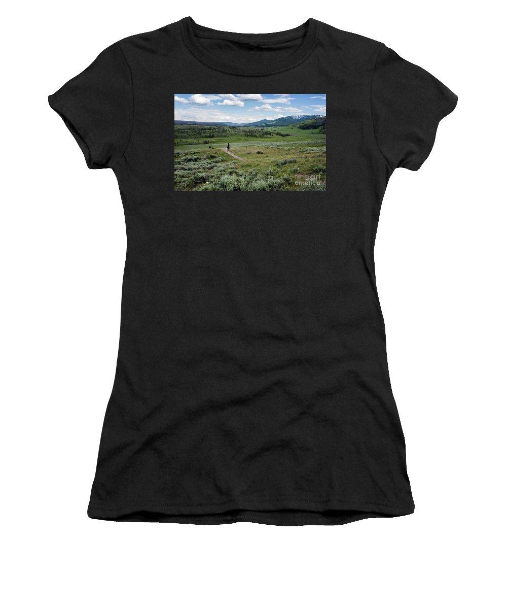Yellow Stone Mountains Women's T-Shirt featuring the photograph Yellow Stone Mountains by Mae Wertz