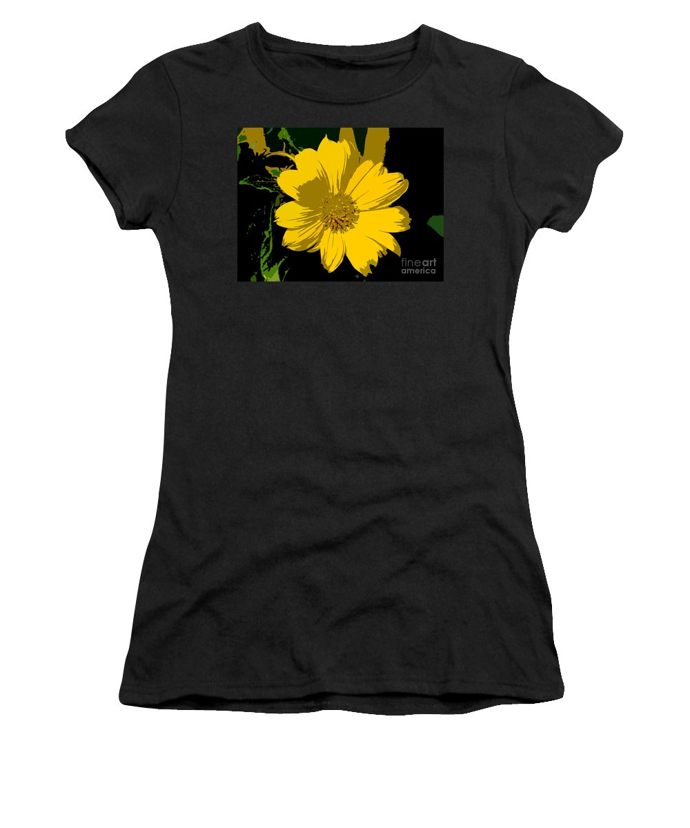 Flower Women's T-Shirt (Athletic Fit) featuring the photograph Yellow Sunshine Work Number 8 by David Lee Thompson