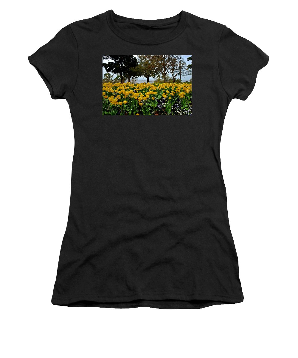 Fairhope Women's T-Shirt (Athletic Fit) featuring the painting Yellow Tulips Of Fairhope Alabama by Michael Thomas