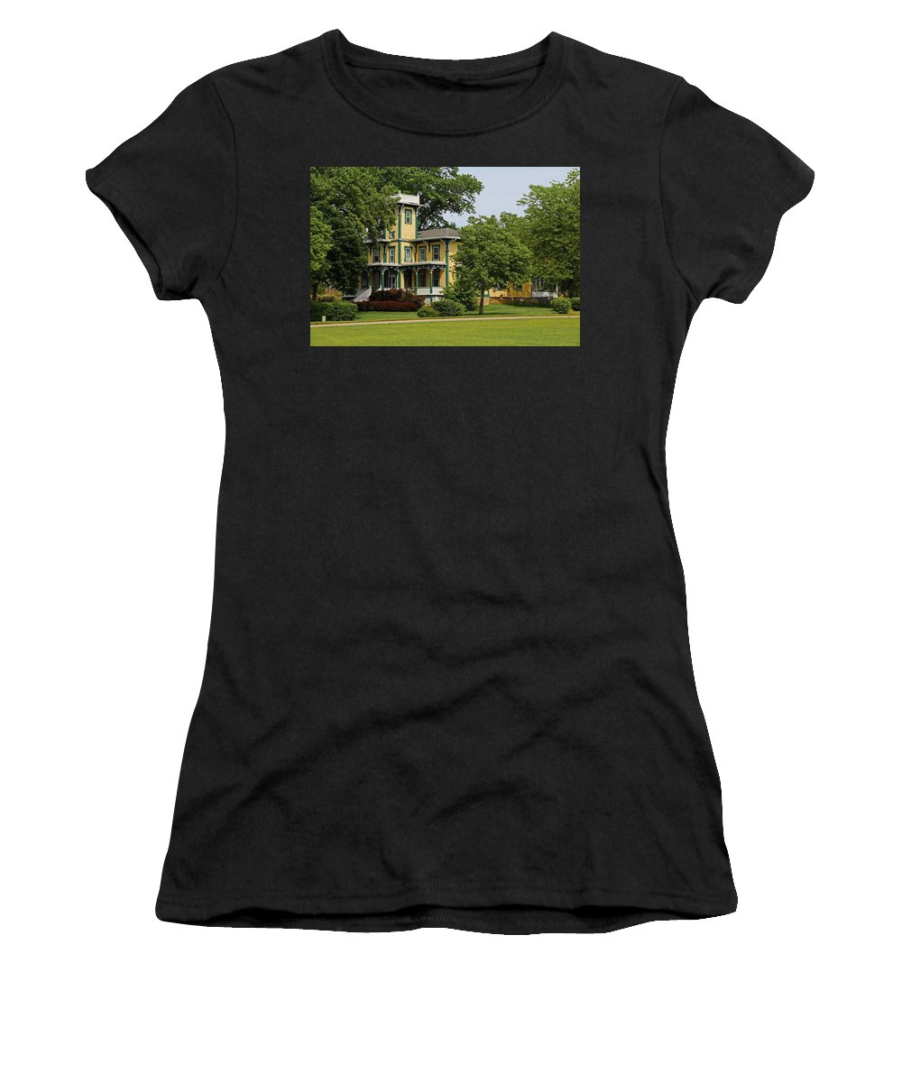 Yellow Women's T-Shirt (Athletic Fit) featuring the photograph Yellow Victorian-horizontal by Michiale Schneider