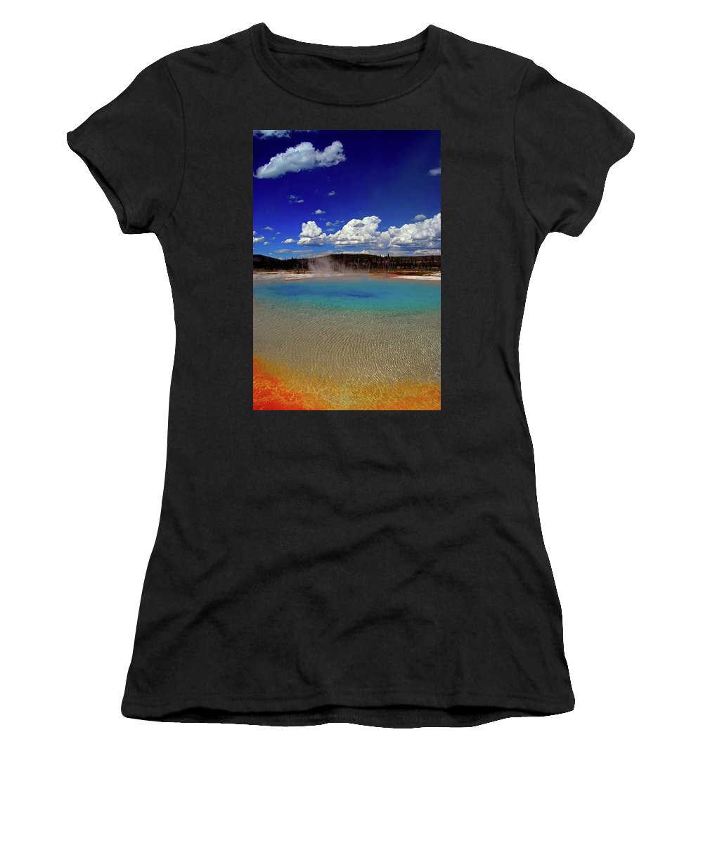 Yellowstone National Park Women's T-Shirt (Athletic Fit) featuring the photograph Yellowstone Blues by Lynda Nolte