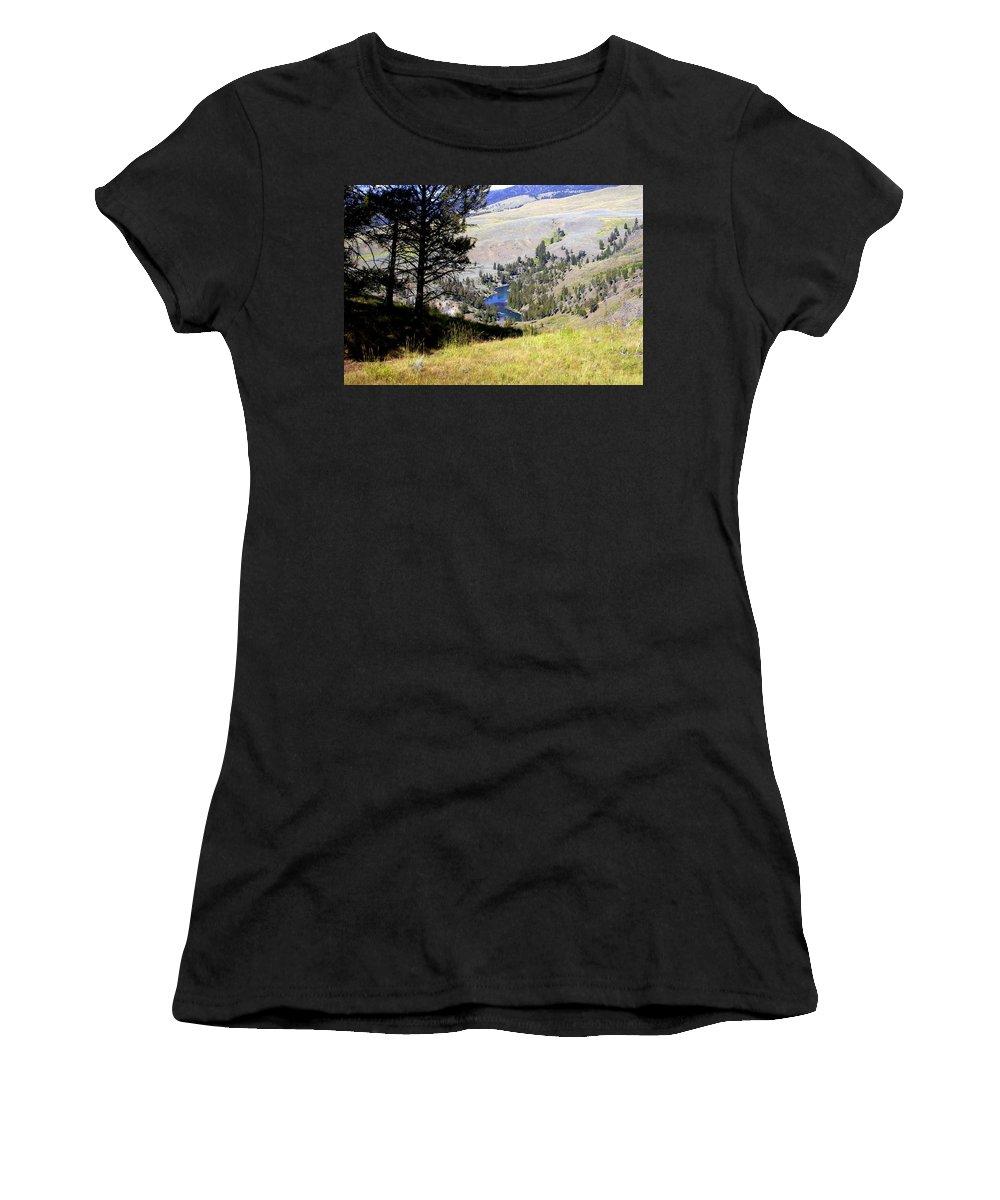 Yellowstone National Park Women's T-Shirt (Athletic Fit) featuring the photograph Yellowstone River Vista by Marty Koch