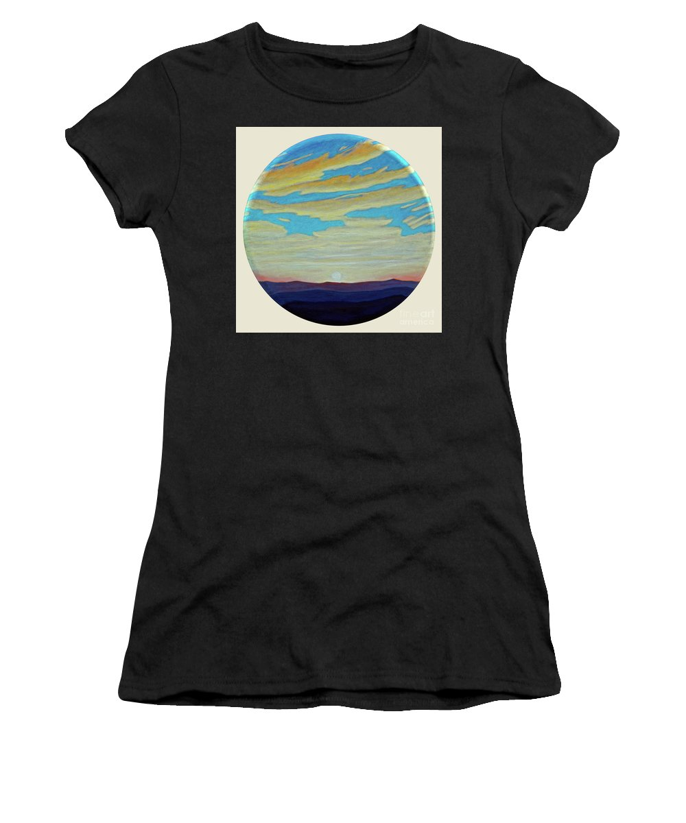 Landscape Women's T-Shirt (Athletic Fit) featuring the painting Yesterday by Brian Commerford