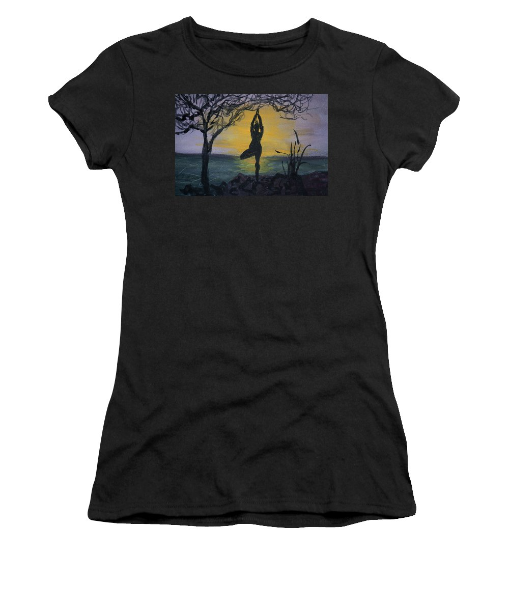 Yoga Tree Pose Women's T-Shirt featuring the painting Yoga Tree Pose by Donna Walsh