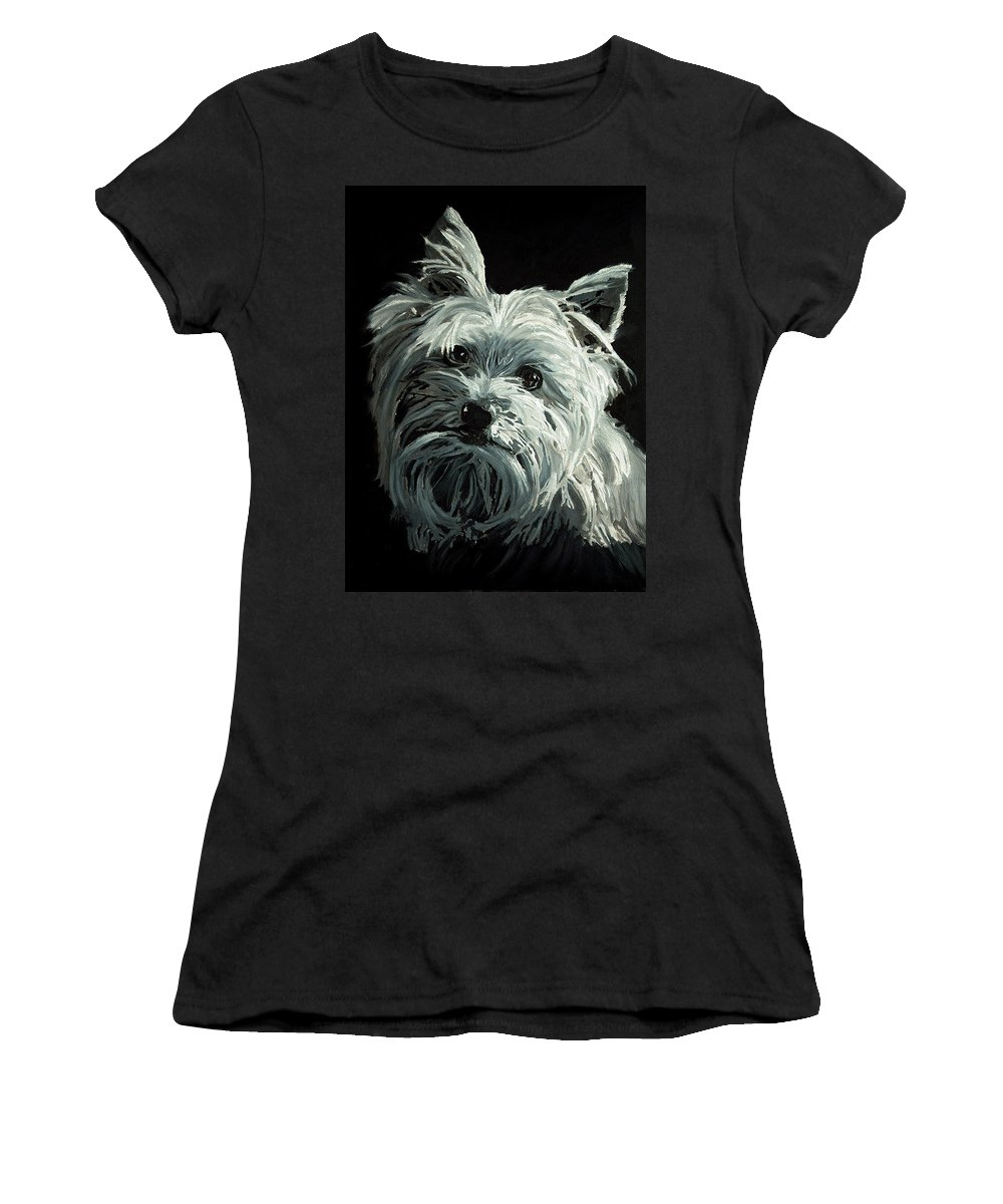 Animals Women's T-Shirt featuring the painting Yorkie by Portraits By NC