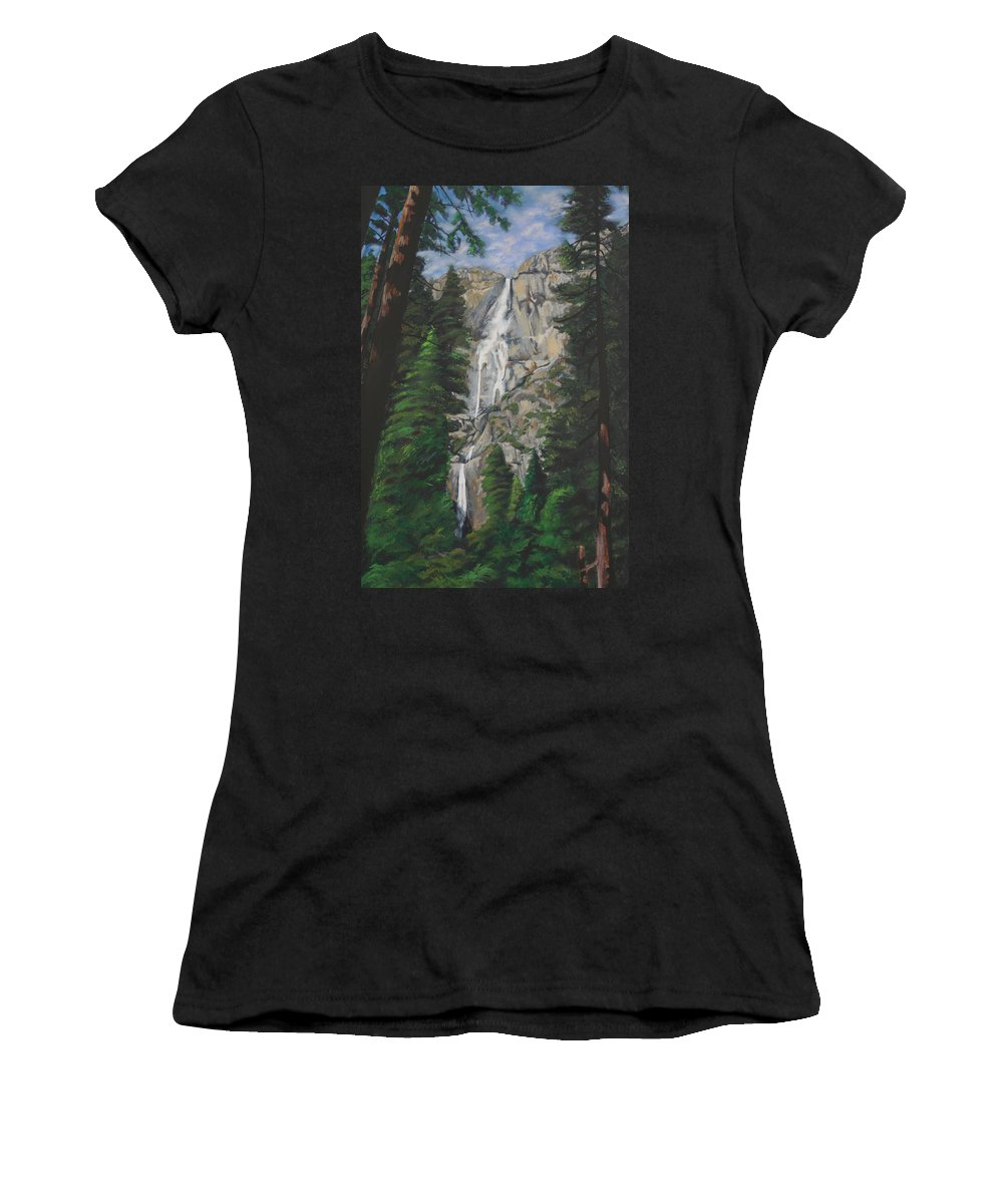 Landscape Women's T-Shirt (Athletic Fit) featuring the painting Yosemite Falls by Travis Day