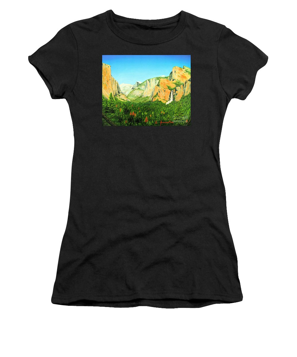 Yosemite National Park Women's T-Shirt featuring the painting Yosemite National Park by Jerome Stumphauzer