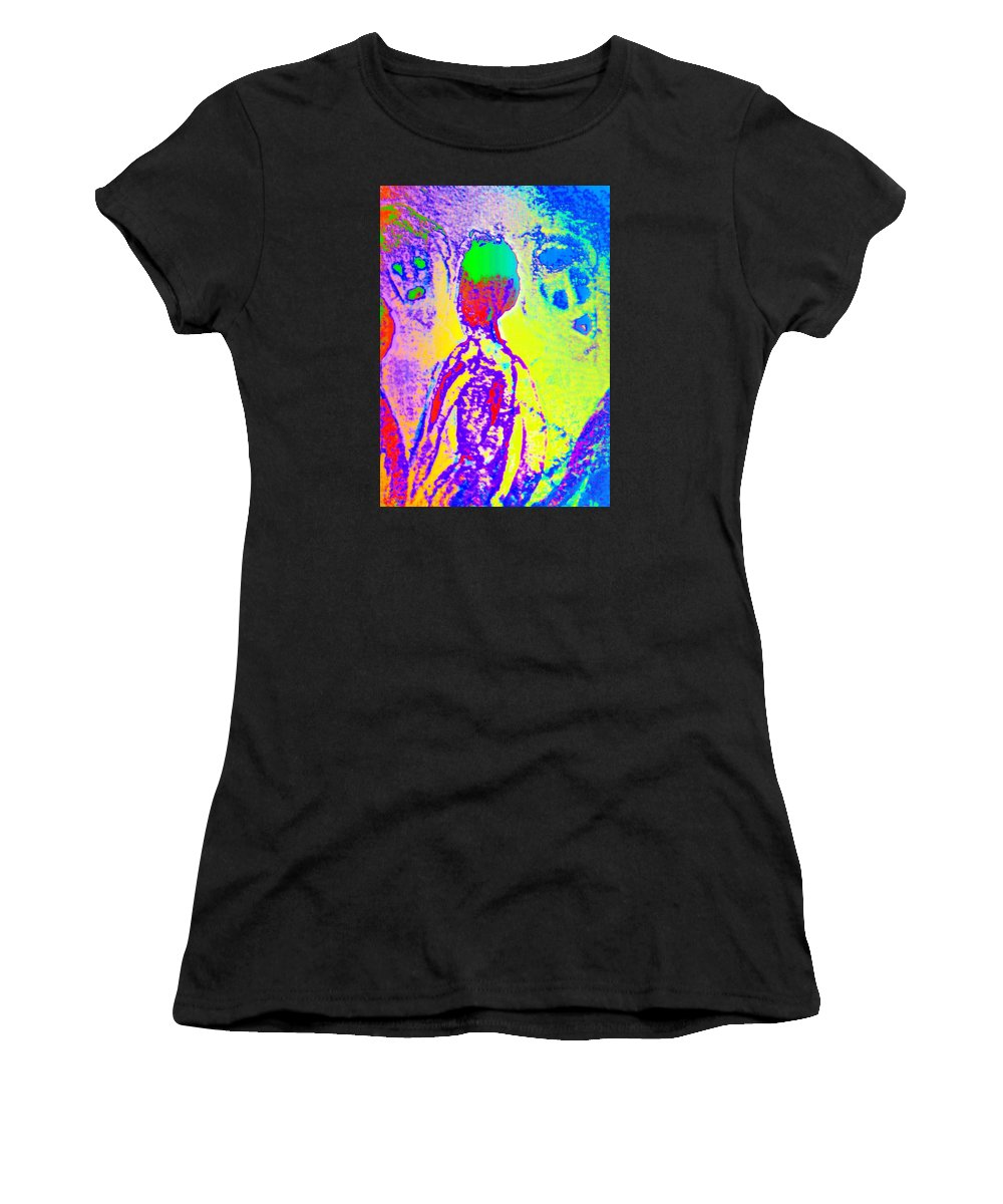 Face Women's T-Shirt featuring the painting You Are Wondering About  by Hilde Widerberg