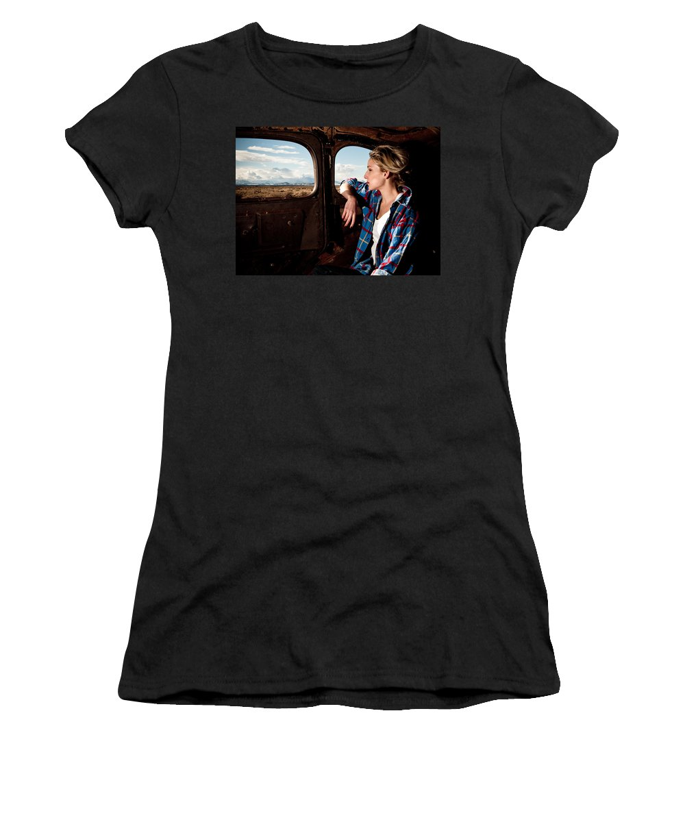 Old Car Women's T-Shirt (Athletic Fit) featuring the photograph Young And The Old by Scott Sawyer