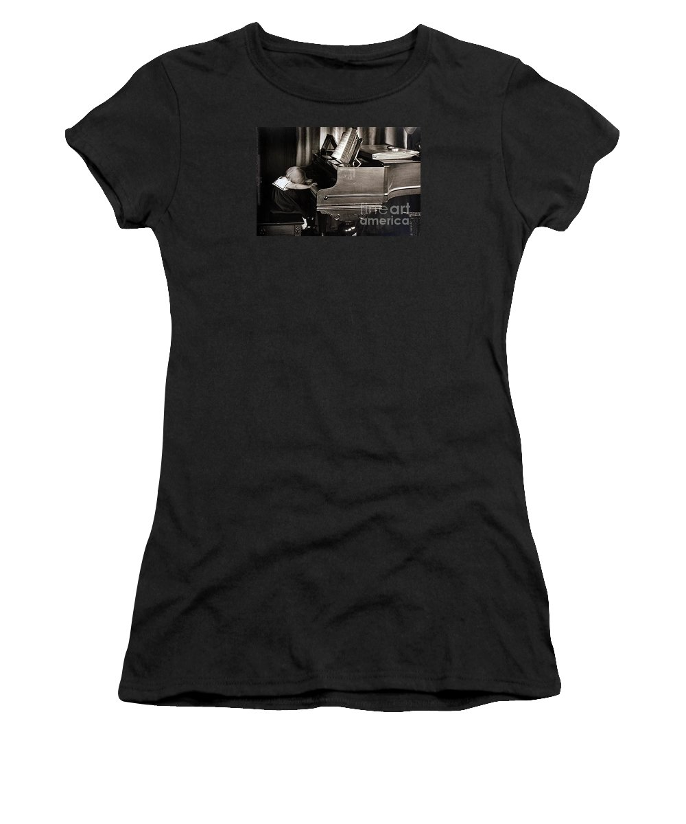 Piano Women's T-Shirt (Athletic Fit) featuring the photograph Young Beethoven by Michael Ziegler