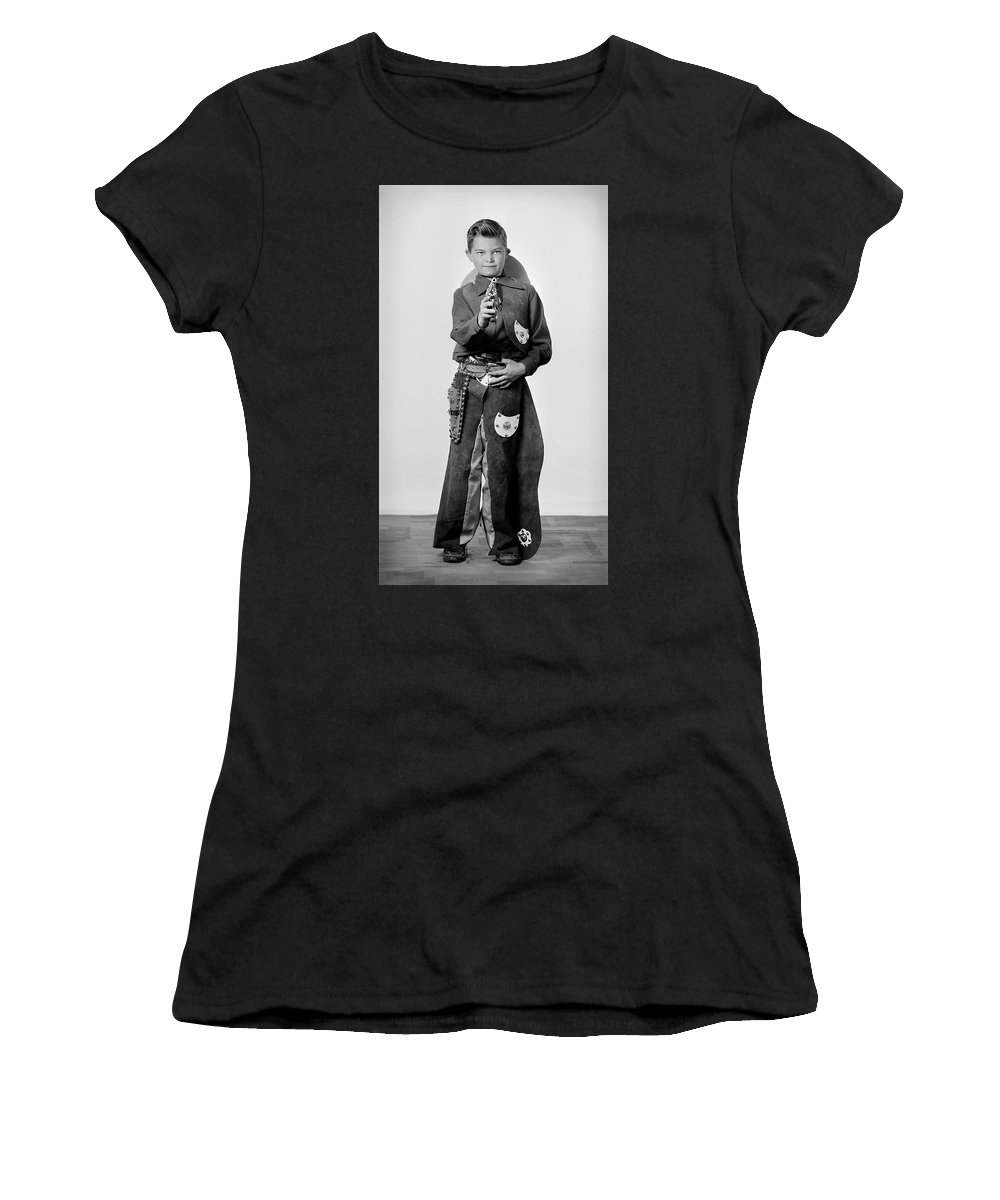 Cowboy Women's T-Shirt (Athletic Fit) featuring the photograph Young Cowboy Aims To Please by Seely Studio
