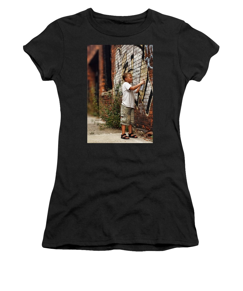Young Women's T-Shirt (Athletic Fit) featuring the photograph Young Vandal by Gordon Dean II