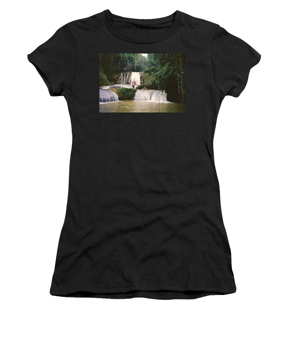 Jamaica Women's T-Shirt (Athletic Fit) featuring the photograph Ys Falls Jamaica by Debbie Levene
