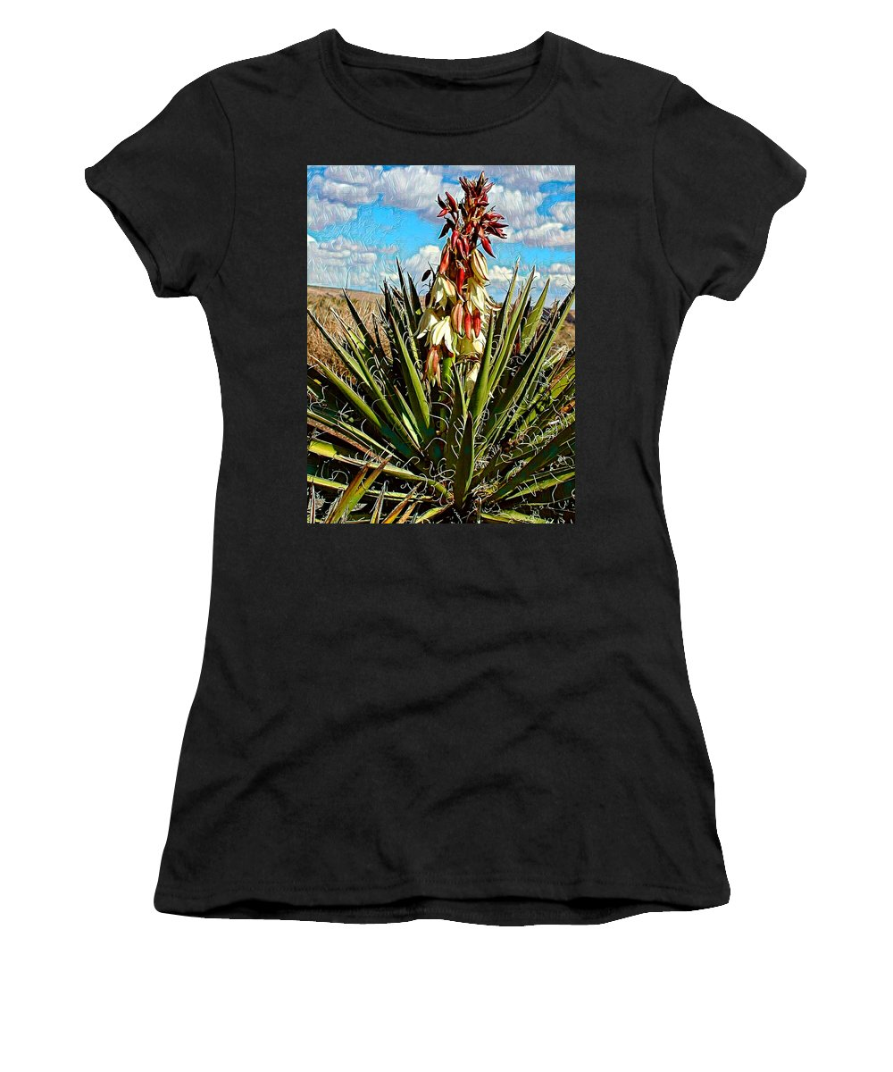 Yucca Women's T-Shirt (Athletic Fit) featuring the photograph Yucca Bloom by Jim Thomas