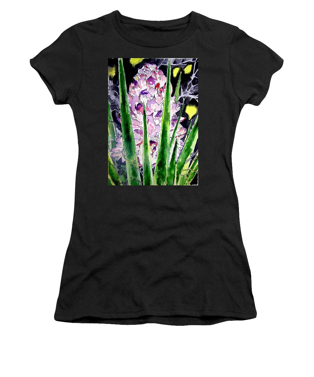 Flower Women's T-Shirt (Athletic Fit) featuring the painting Yucca Flower Plant Southwestern Art by Derek Mccrea