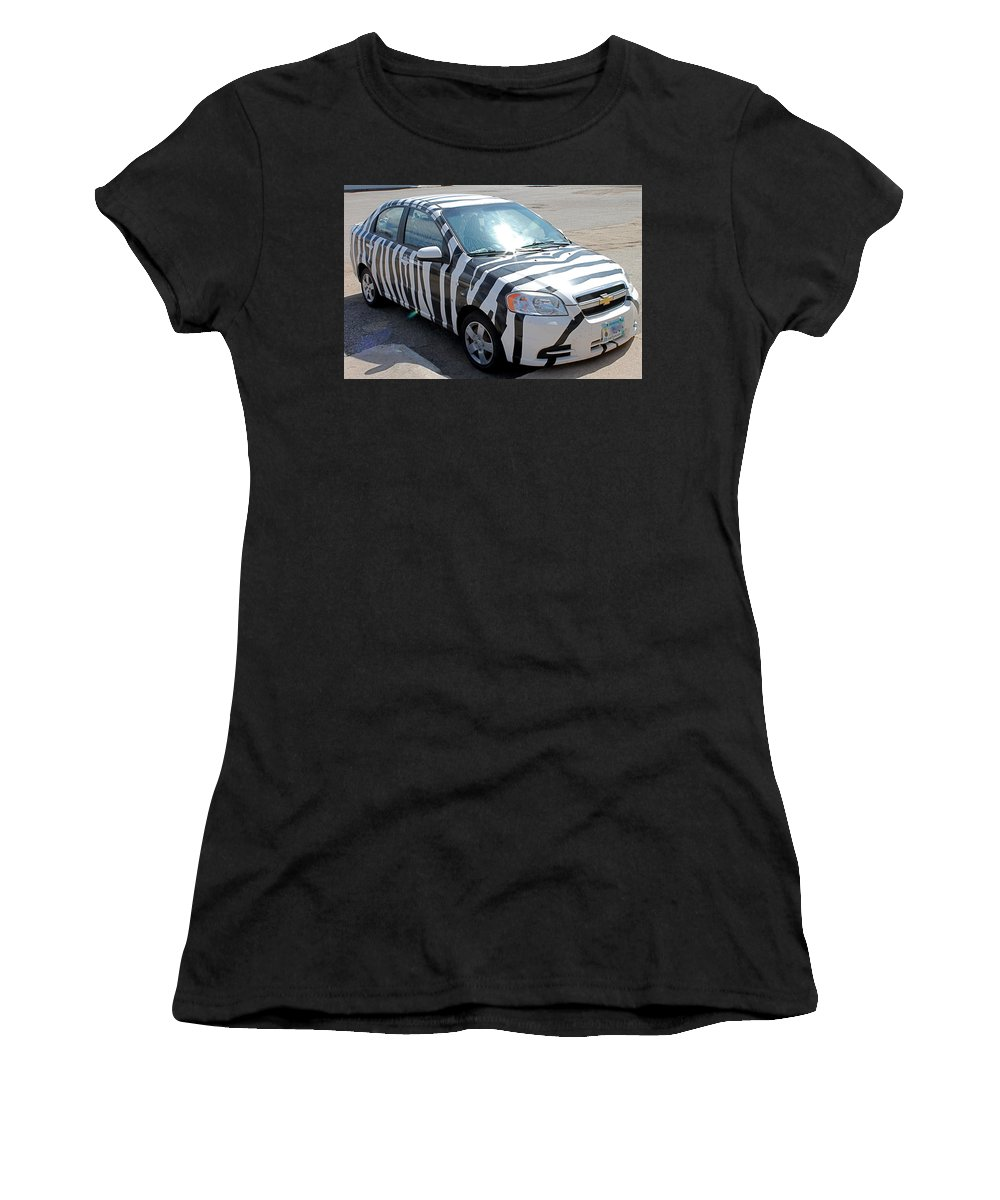 Cars Women's T-Shirt featuring the photograph Zebra Car Front by Wayne Williams