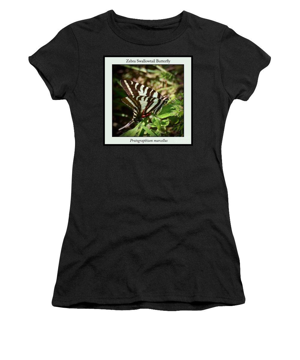 Zebra Swallowtail Butterfly Women's T-Shirt featuring the photograph Zebra Swallowtail Butterfly by Kerri Farley