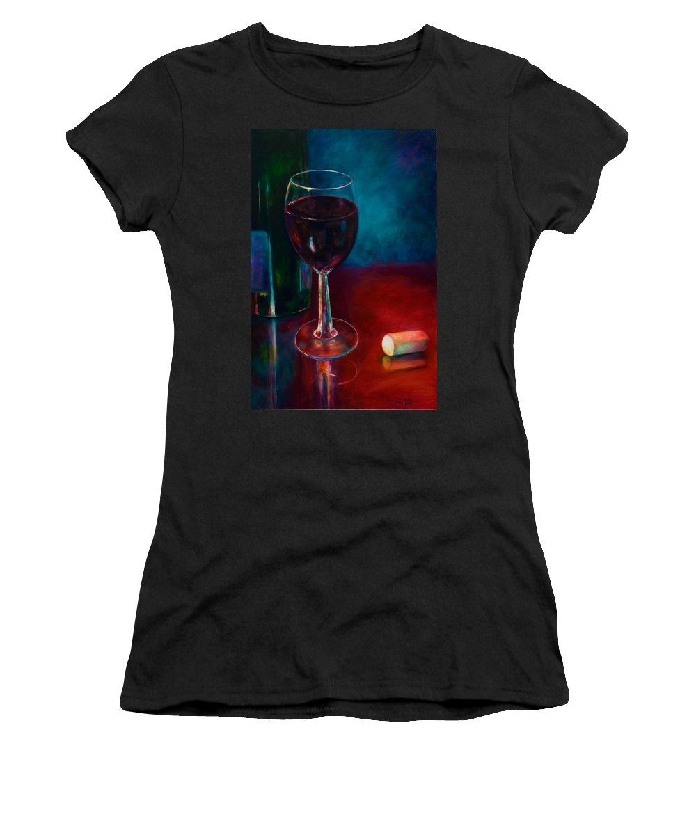 Wine Bottle Women's T-Shirt featuring the painting Zinfandel by Shannon Grissom