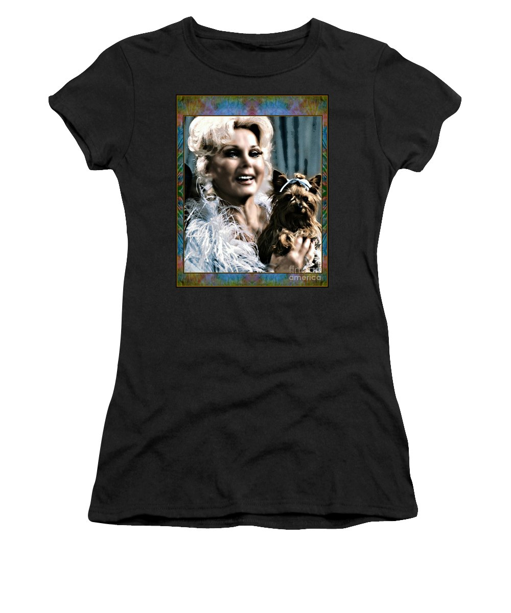 Zsa Zsa Gabor By Wbk Women's T-Shirt (Athletic Fit) featuring the painting Zsa Zsa by Wbk