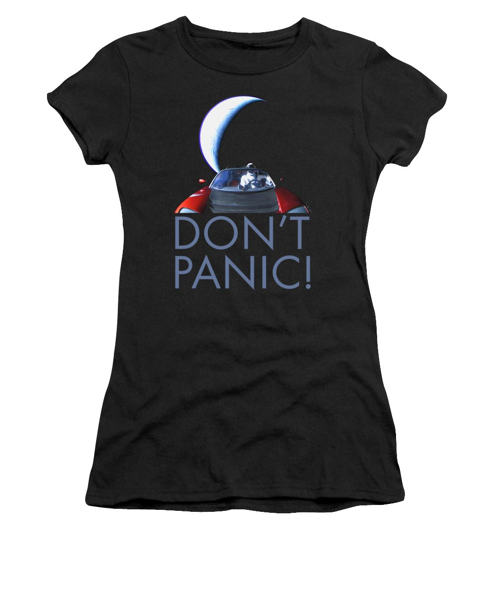 Dont Panic Women's T-Shirt featuring the photograph Don't Panic Starman by Filip Schpindel