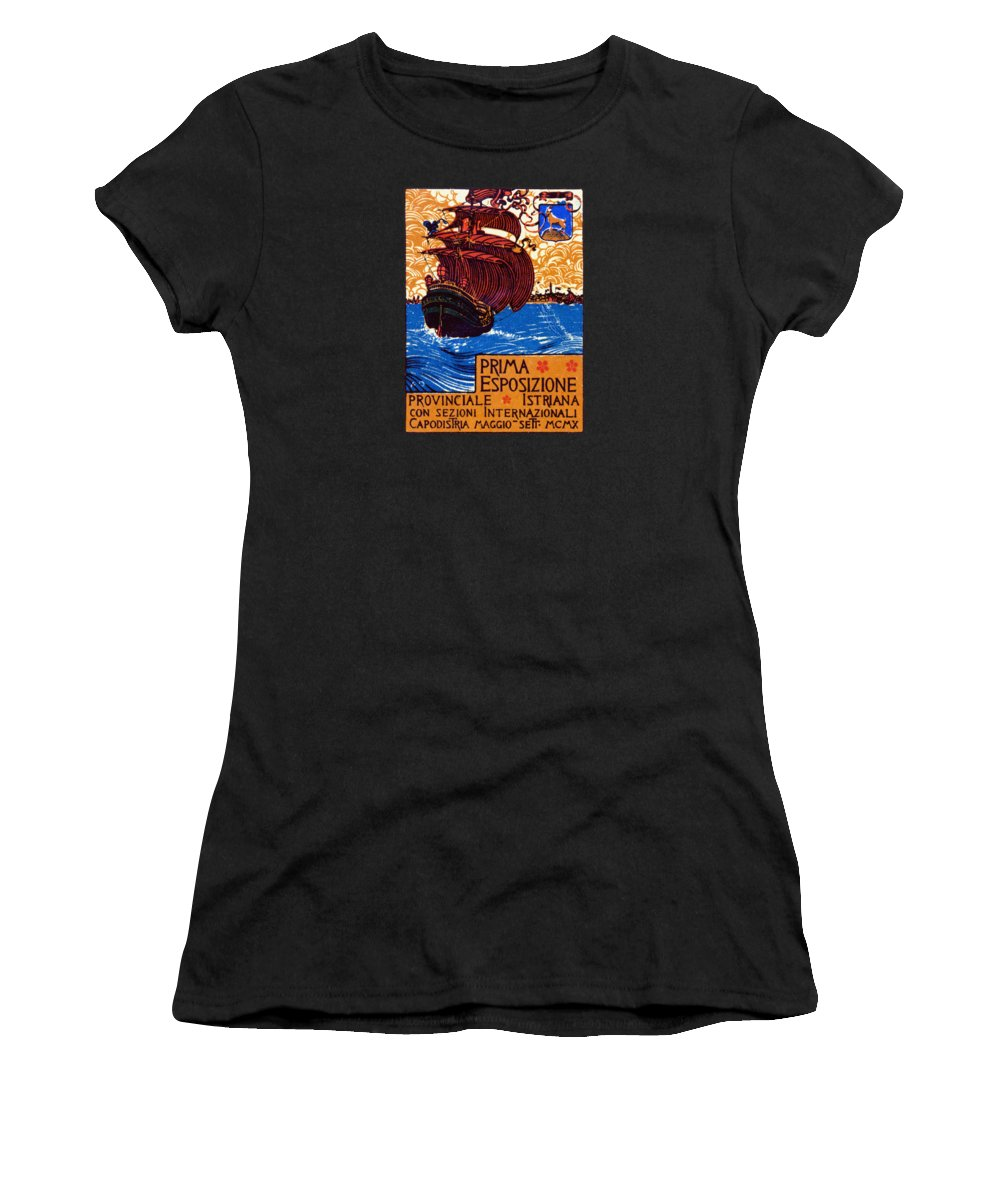 Vintage Women's T-Shirt featuring the painting 1910 Istria International Expo by Historic Image