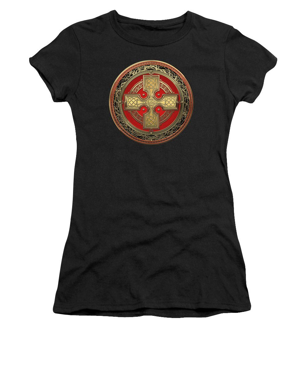 'celtic Treasures' Collection By Serge Averbukh Women's T-Shirt featuring the digital art Ancient Celtic Sacred Gold Knot Cross Over Black Leather by Serge Averbukh