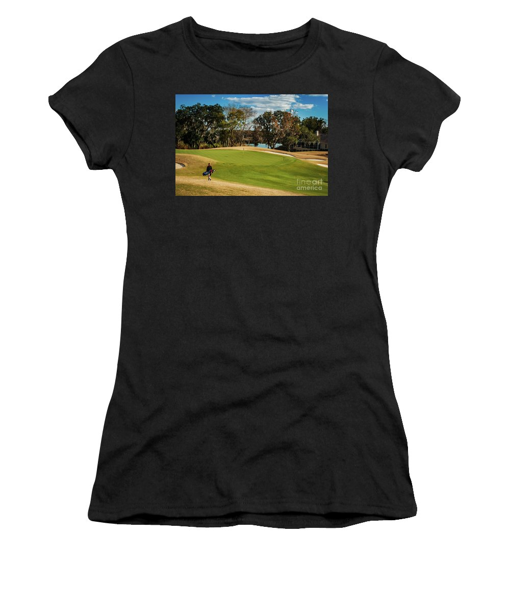 Golf Women's T-Shirt featuring the photograph Approaching The 18th Green by Thomas Marchessault