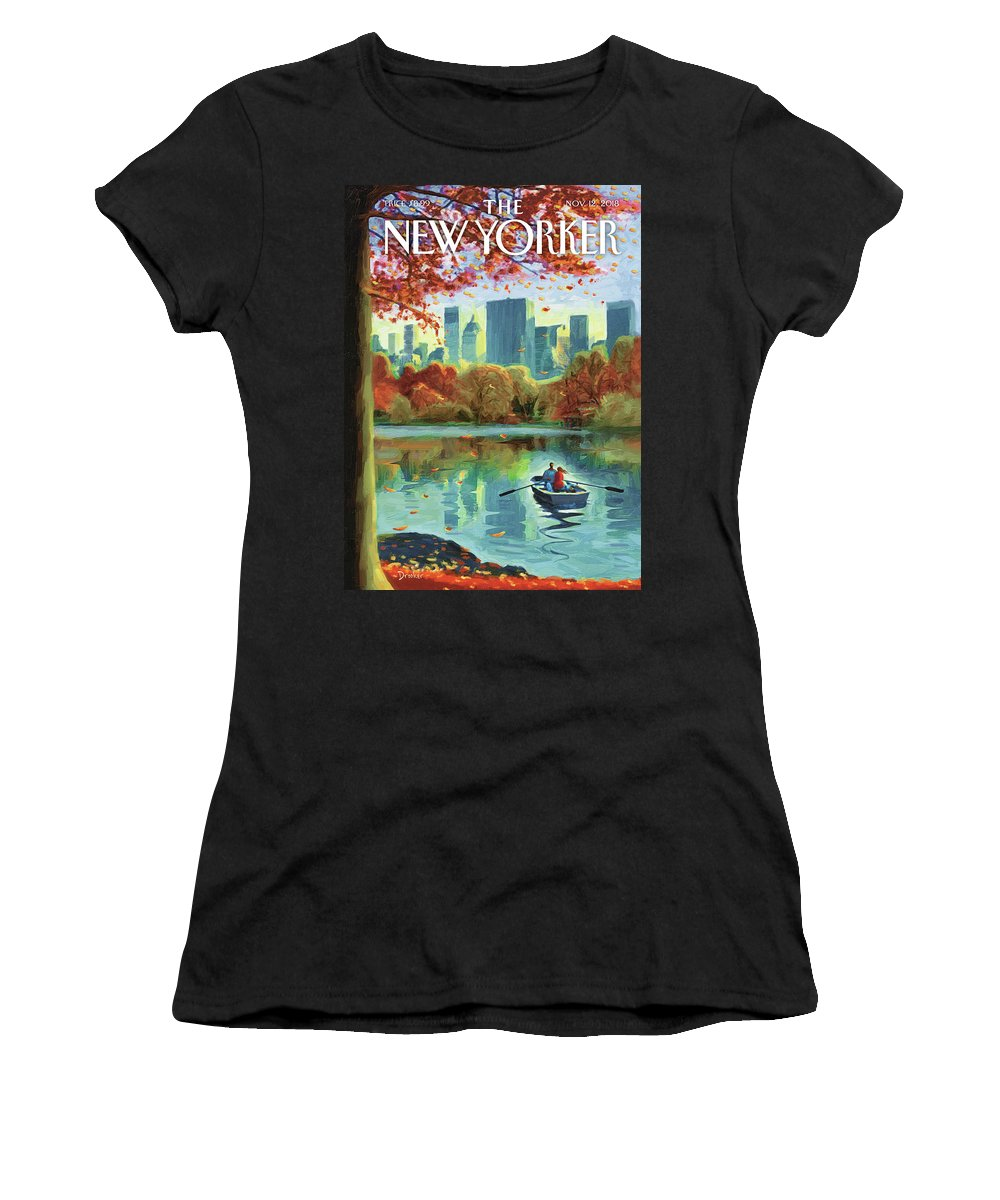 Autumn Central Park Women's T-Shirt featuring the drawing Autumn Central Park by Eric Drooker