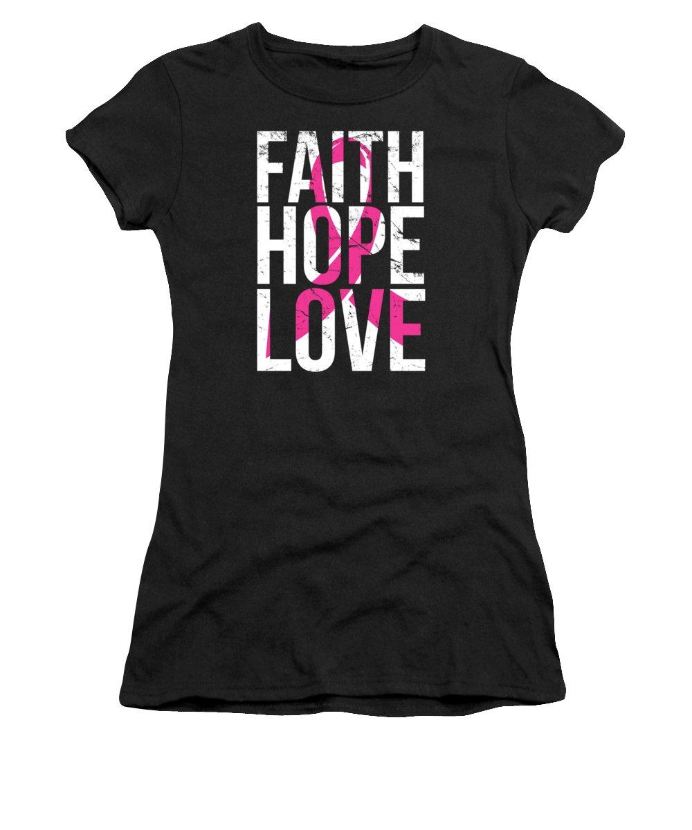 Cool Women's T-Shirt featuring the digital art Faith Hope Love Breast Cancer Awareness by Flippin Sweet Gear