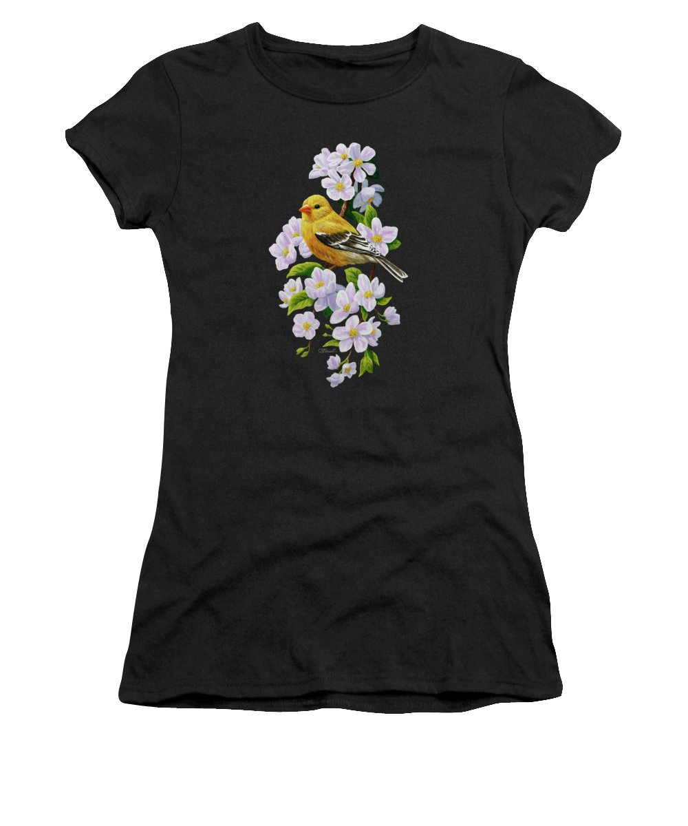 Bird Women's T-Shirt featuring the painting Female American Goldfinch And Apple Blossoms by Crista Forest