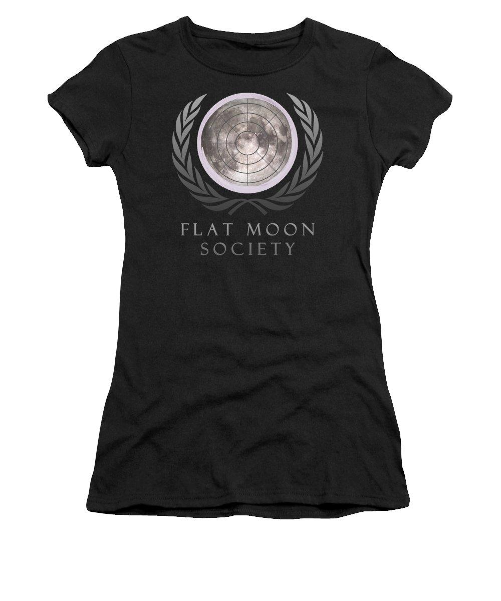 Flat Earth Women's T-Shirt featuring the digital art Flat Moon Society by Filip Schpindel