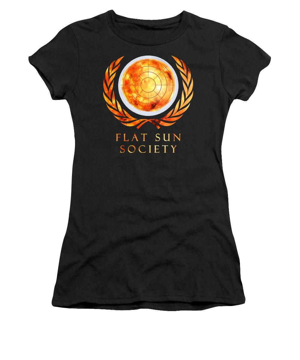 Flat Earth Women's T-Shirt featuring the digital art Flat Sun Society by Filip Schpindel
