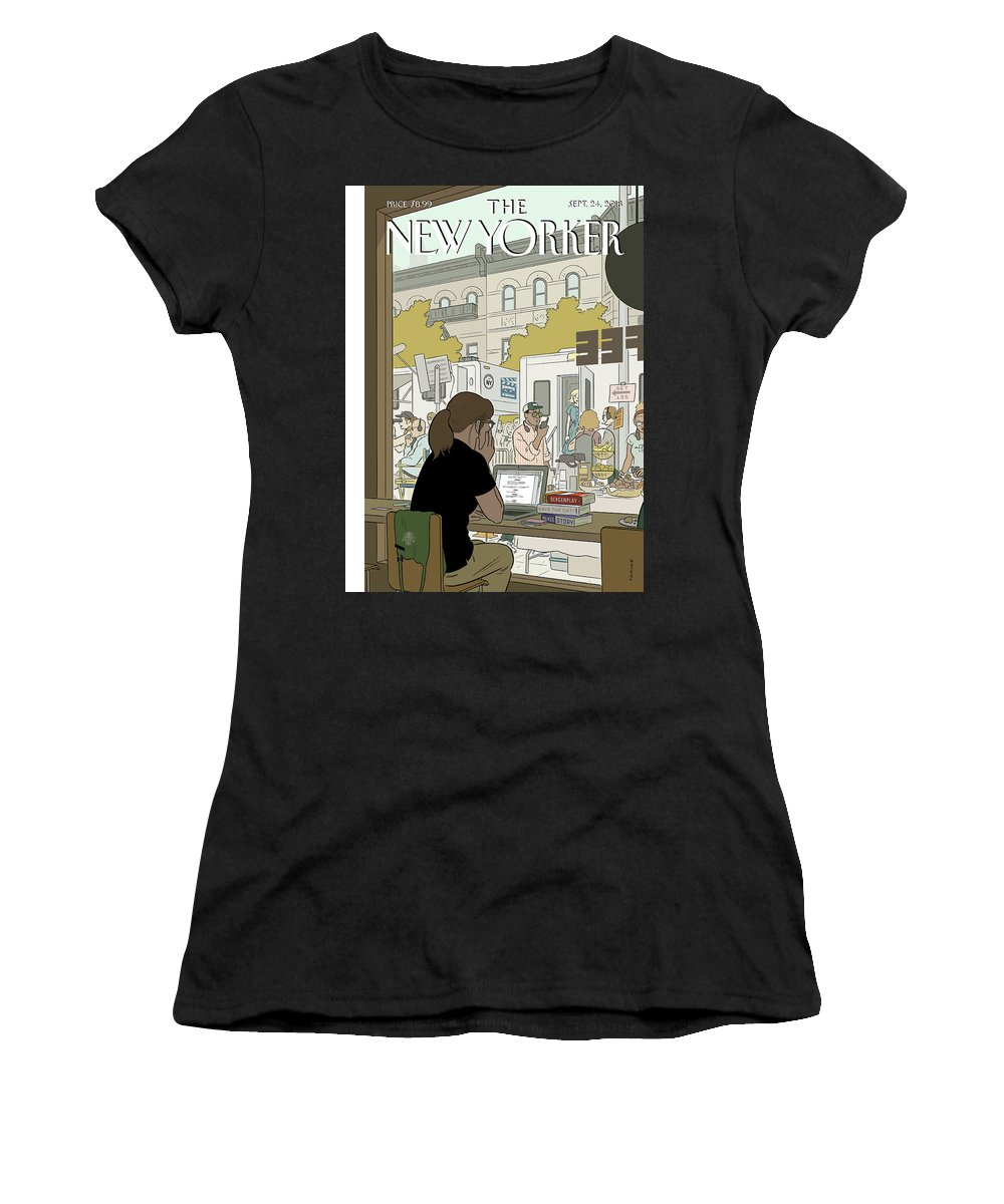 Fourth Wall Women's T-Shirt featuring the drawing Fourth Wall by Adrian Tomine